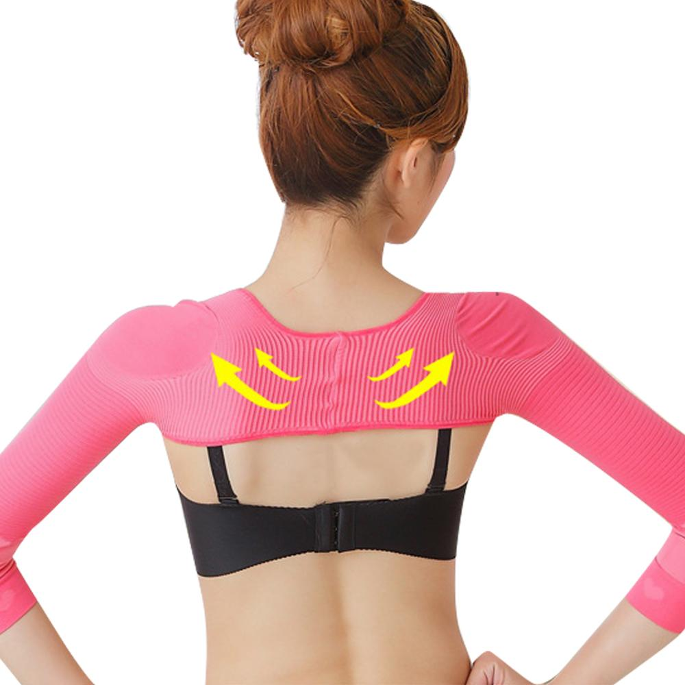 Women Arm Slimming Back Posture Corrector Humpback Prevent Body Elastic Shaper Shoulder Long Sleeve Upper Underwear