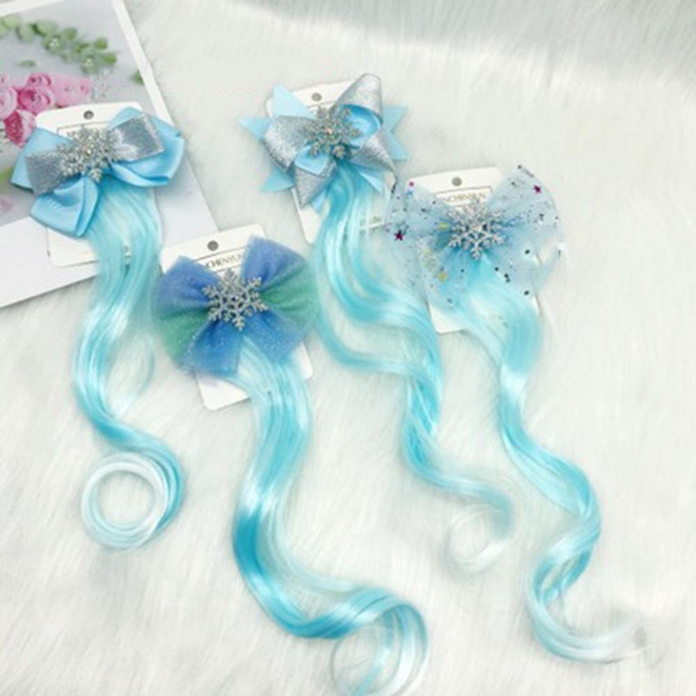New Girls Lovely Blue Wigs Bow Hairpins Princess Hair Ornament Headband Hair Clips Barrettes Kids Hair Accessories