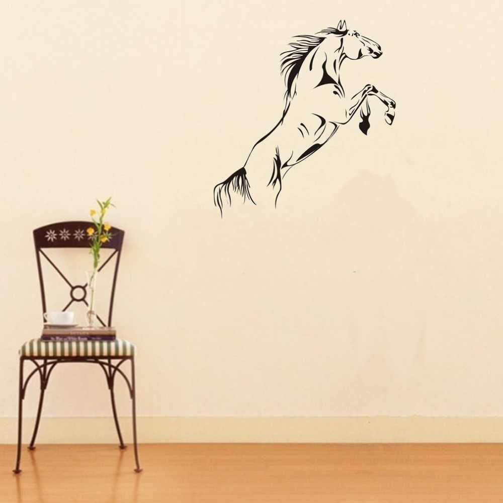 PVC Nero Corsa E Jogging Cavallo Autoadesivo Smontabile Della Parete di Arte Del Vinile Murale Complementi Arredo Casa Cavallo a Saltare Carta Da Parati Decor living room decoration