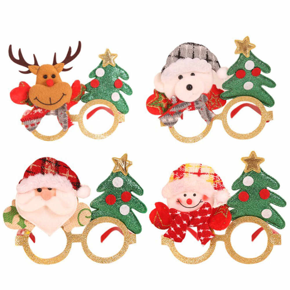 Christmas Glasses Frame Plastic Santa Snowman Elk Party Glasses New Year Merry Christmas Decorations For Home