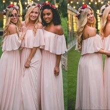 Light Blush Pink Chiffon Cheap Long Bridesmaid Dresses Maid of Honor Gowns