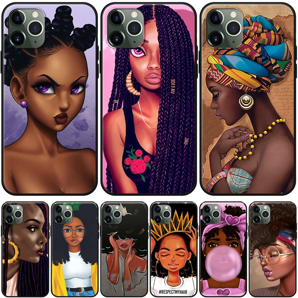 Afro Girls Black Women Art Case For Iphone Xr Xs Max X Coque For Iphone 11 Pro Max Case For Iphone 7 8 6 6s Plus 5 5s Se Fundas Phone Case Covers Aliexpress