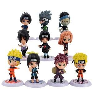 Naruto Uchiha Madara Sasuke Kakashi Sakura Gaara Haku Momochi Zabuza Mini PVC Figures Toys Dolls 10pcs/set(China)