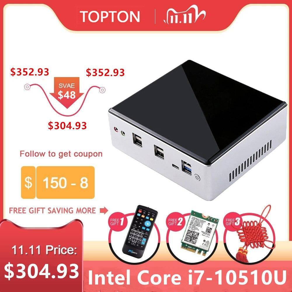 2020 TOPTON New 10th Gen Mini PC Computer Intel i7-10510U 2*DDR4 M.2 SSD 2*LAN 4K HTPC Windows 10 Linux 8*USB USB-C HDMI DP WiFi-0
