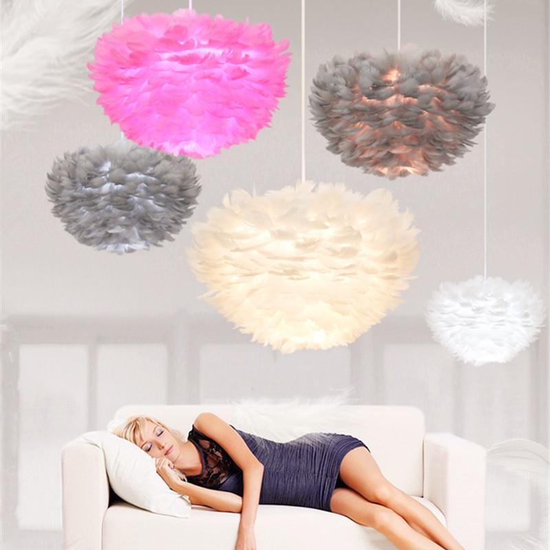 LED loftowe wisiorek z piórkiem E27 90-260V oświetlenie wewnętrzne sypialnia wystrój salonu lampy wiszące restauracja Cafe wiszące lampy