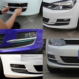 Image 3 - 2 Pcs Silber Vorder Nebel Licht Lampe Abdeckungen Trim ABS Chrom Streifen Aufkleber Auto Dekoration Zubehör Für VW Golf 7 mk7 2013 2017