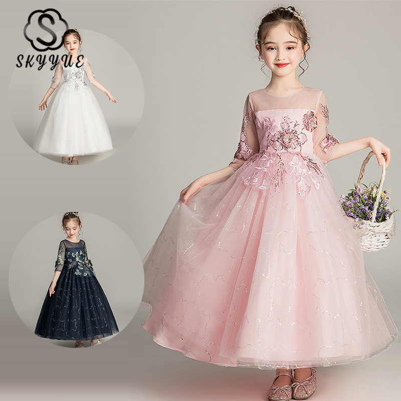 Skyyue Lace   Flower     Girl     Dress   for Wedding Elegant Illusion Half-sleeve Sequines Tulle Kid Party   Dresses   Communion Gown 2019 1716