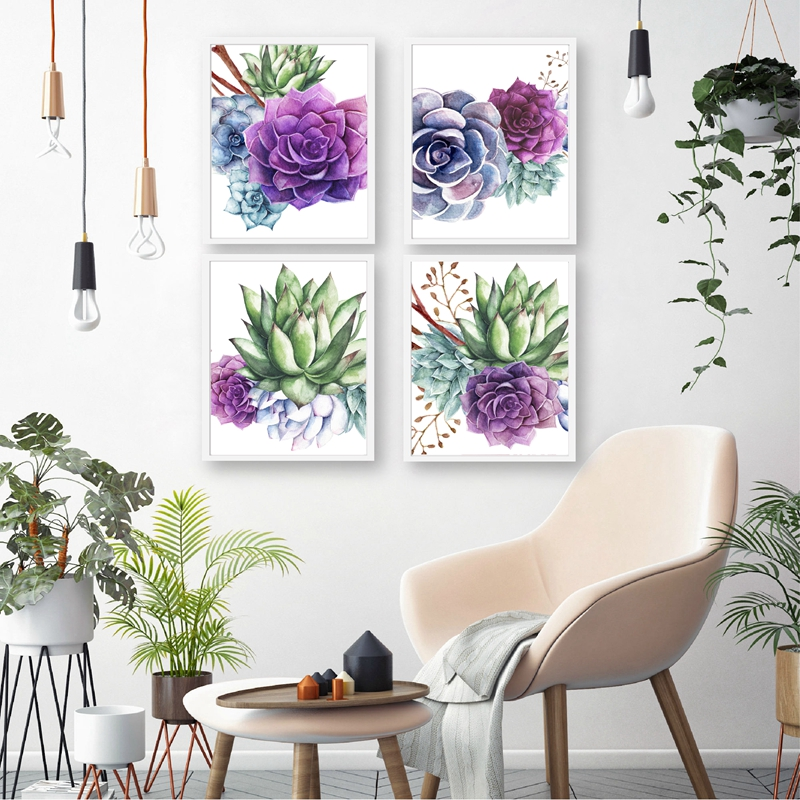 Succulent Botanical Posters and Prints Farmhouse Wall Decor Cacti Wall Art Canvas Painting Pictures for Living Room Decoration image