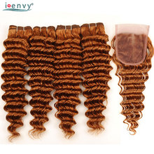 Altın sarışın #30 derin dalga demetleri ile kapatma renkli insan saç örgüleri demetleri brezilyalı saç kapatma ile 4 demetleri olmayan Remy