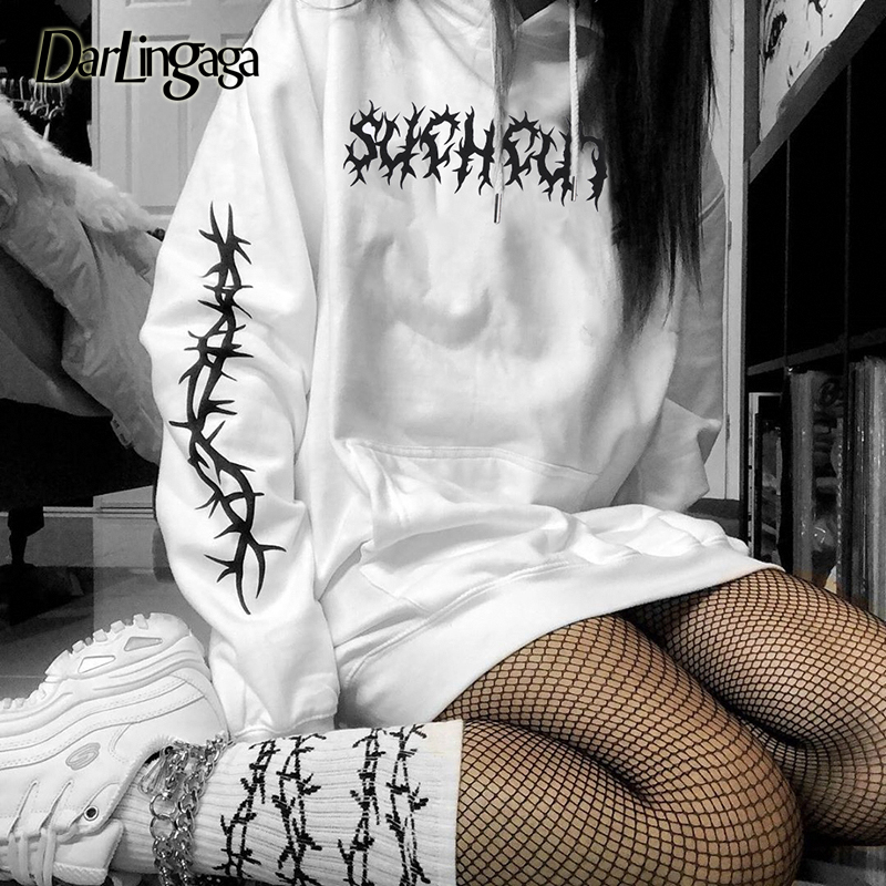 Darlingaga Streetwear Cotton Oversized Hoodie Loose White Hooded Long Sweatshirt Autumn Winter Hoodies Women Tops Pullover Punk