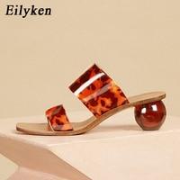 Eilyken été clair PVC bout carré dames chaussures Transparent cristal rond talon boule pantoufles femmes léopard Grain gelée sandales