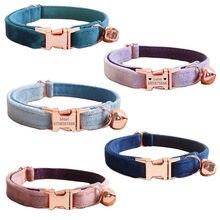 Collar de terciopelo para gato, personalizado, identificación, Collar ajustable para gato, campana, cachorro, Chihuahua, yorkshire