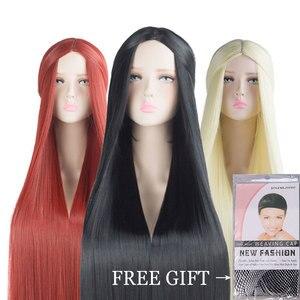Image 2 - MUMUPI Cos Perücke Blonde Rot Rosa Grau Lila Haar für Party 100CM Lange Gerade perücken Synthetische cosplay Perücke für schwarz Frauen