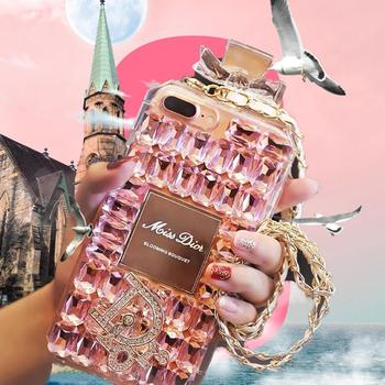 Perfume bottle bow case for iphone7/8 plus shell diamond 5s/6S hanging Neck Lanyard accessories silicone luxury