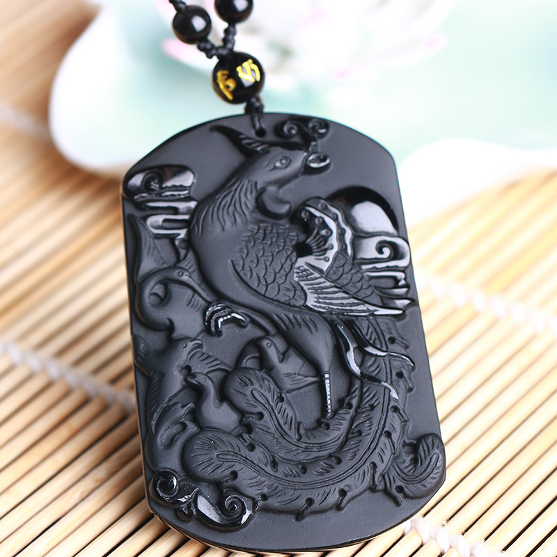 DropShipping <font><b>60*40</b></font>*10mm Black Obsidian Phoenix Necklace Pendant King of the Bird Jade Pendant Jade Jewelry Fine Jewelry image