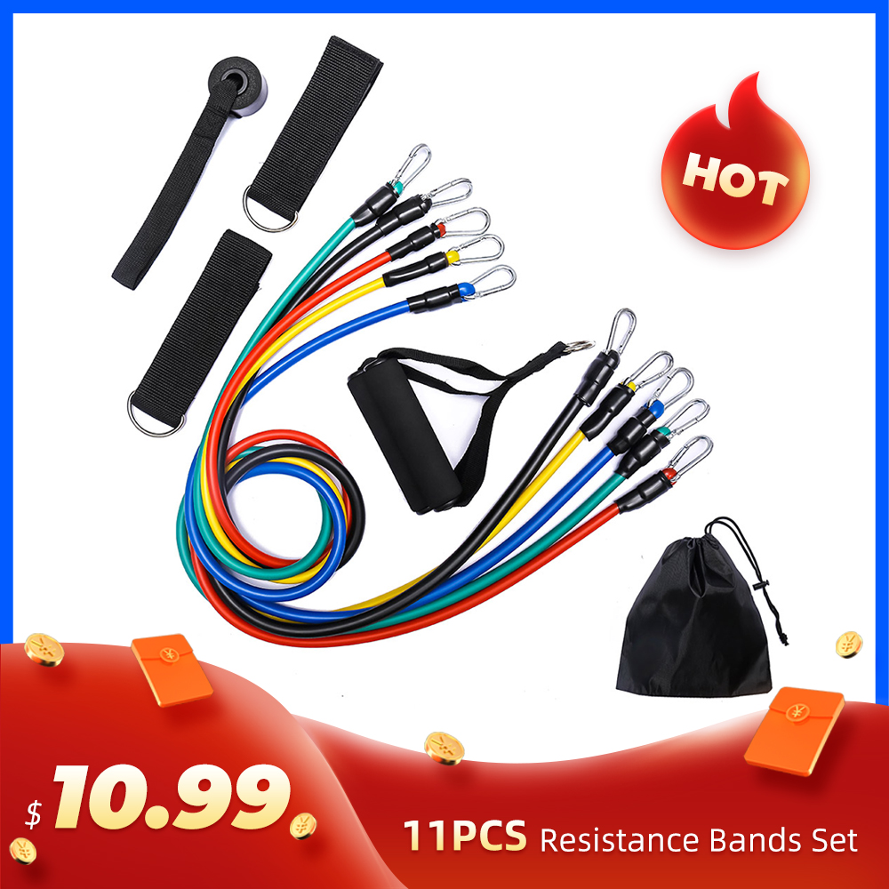 11Pcs/Set Latex Resistance Band Set Elastic Bands For Fitness Rubber Bands Fitness Equipment For Home Gym Sport Bands Workout