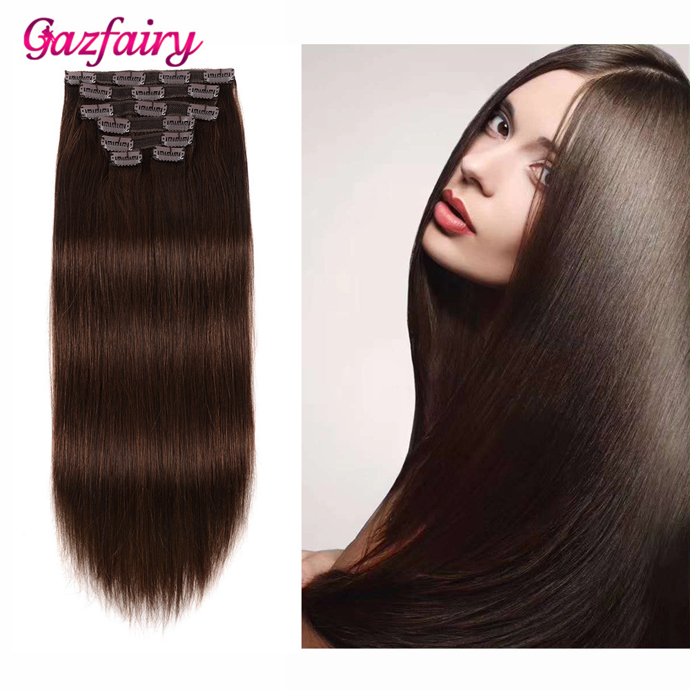 Gazfairy 100% Real Human Hair Clip In Remy Hair Extensions Double Weft Silky Straight Style 16'' 70g 7Pcs/Set Full Head Clip Ins