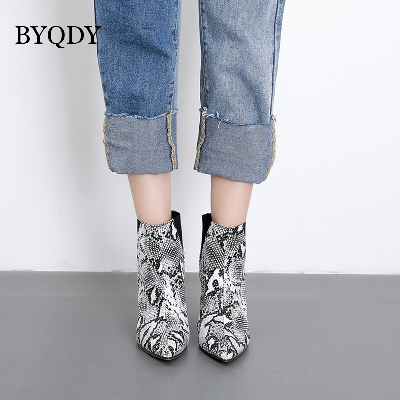 BYQDY Fashion PU Leather Cowboy Boots Women Ankle Boots High Heel Serpentine Print Boots Autumn Winter Western Shoes Size 35-40