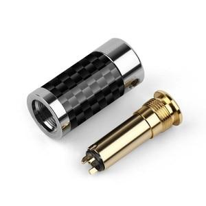 Image 2 - 2 uds. De conector de Audio Mini Jack de 2,5mm y 3,5mm, adaptador de Metal para asiento femenino, conector equilibrado de cobre y fibra de carbono dorada para auriculares