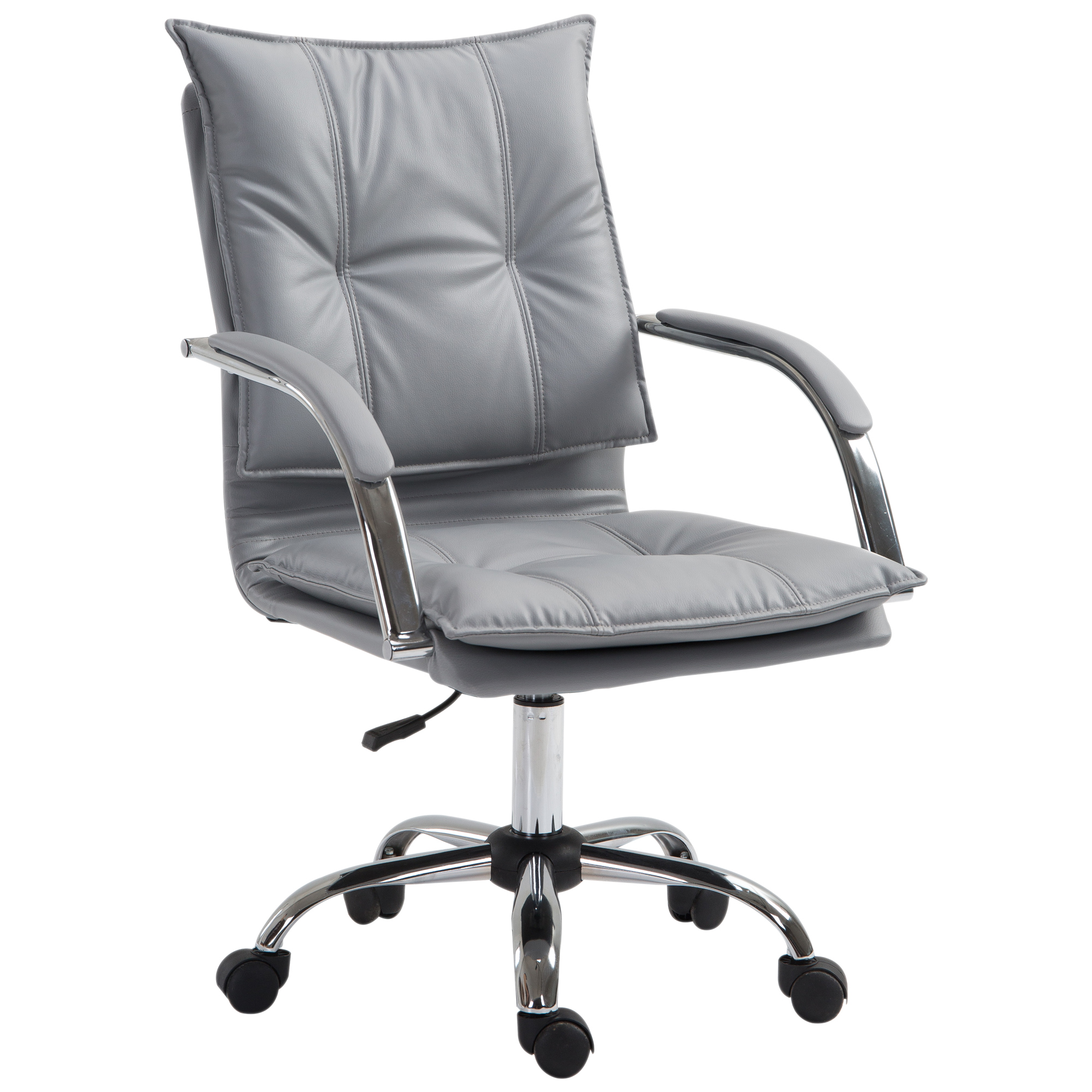 Vinsetto Lounge Chair Modern Design Padded Adjustable Height Office PU Leather Pp Cotton 64x57x91- 101 Cm Gray