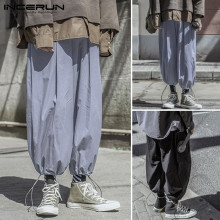 INCERUN 2020 New Mens Loose Elastic Waist Pants Summer Sweatpants Harem Joggers Man Pockets Bloomers Drawstring Trousers 5XL