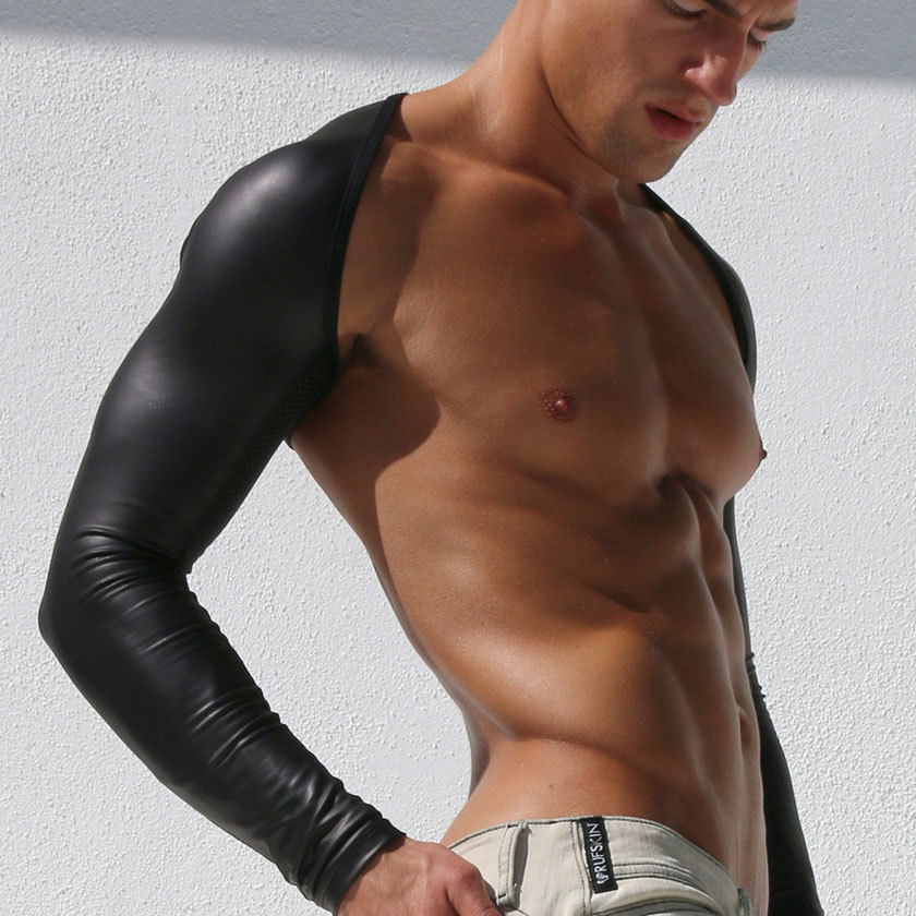 Man Shoulder Tops Shinny PU Leather Sexy Patchwork Crop Top Long Sleeve Men Harness Bodybuilding Stage Costume Gay Exotic Tanks