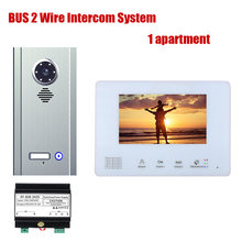 7 Inch BUS 2 Wire Video Door Phone Intercom Systems Kit for Home 1 Units 1/2/3/4 Camera Apartment Night Vision