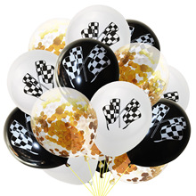 Checkered Racing Car Balloons Black White Flag Latex Confetti for Race Themed Birthday Party Decor