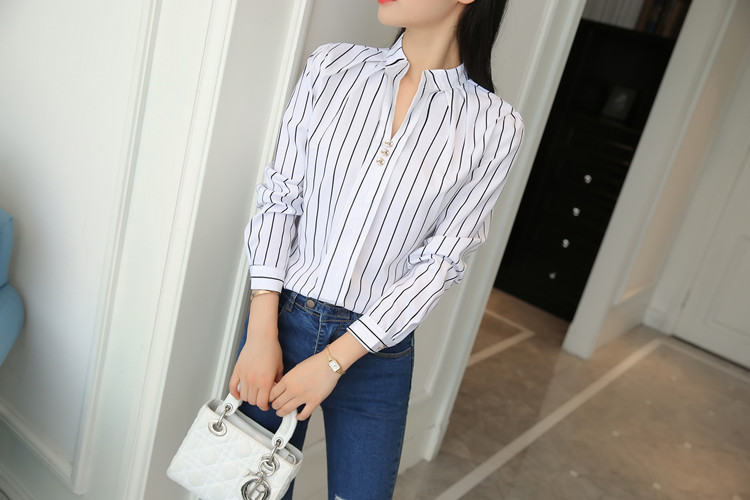 Hde3e7b606c484ebbaf57f56603259108A - Women Fashion White Tops and Blouses Stripe Print Design Casual Long Sleeve Office Lady Work Formal Shirts Female Plus Size