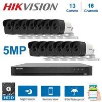 16 قناة Hikvision XVR مع 13 قطعة 5MP 4 في 1 TVI / CVI/ AHD / CVBS للرؤية الليلية في الهواء الطلق مقاوم للماء كاميرات الأمن CCTV أطقم