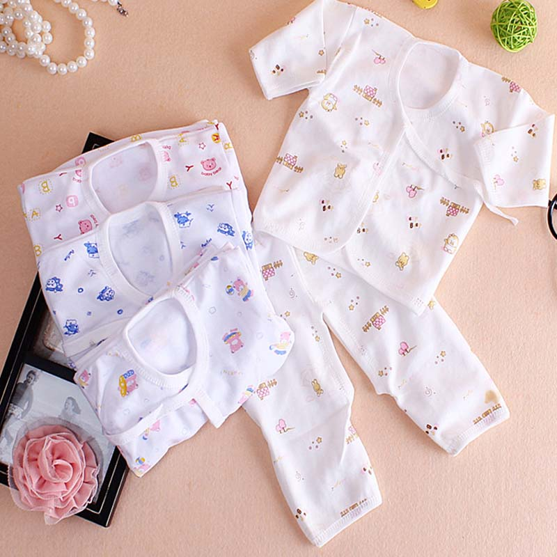 2Pcs Newborn Baby Boy Clothes Infant Clothing Set Cotton Baby Underwear 0-3 Months Boys Girls Printing Suits