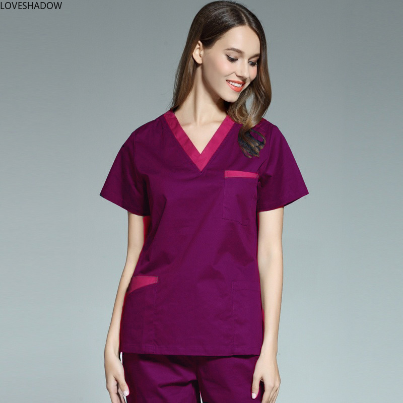 Pure Cotton Color Blocking Scrub Top Doctor Nurse Vet Medical Uniforms Short Sleeve V Neck Side Vent Shirt With Big Pockets