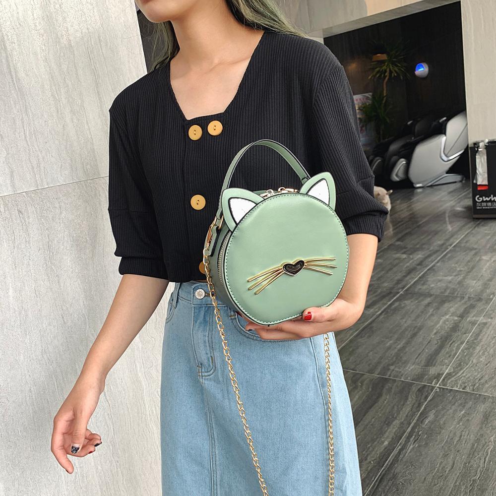 Hot Round Bag High Quality Women's Messenger Bag Casual Shoulder Bag Cute Cat Women's Wallet Women's Bolsa  Tote Bags For Women