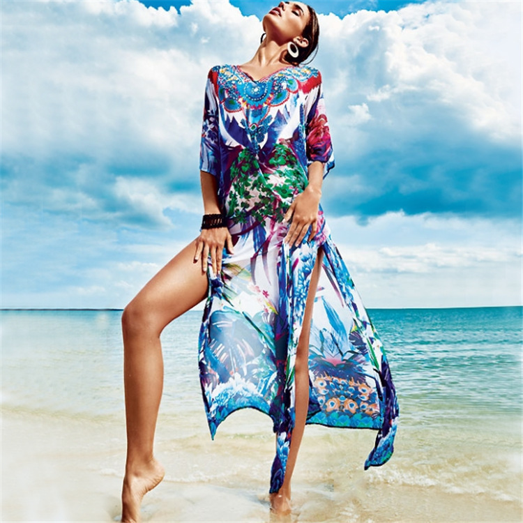Europe And America Positioning Colorful Printed Beach Skirt Holiday Skirt Long Skirts Bikini Outer Blouse Seaside Sun Shirt Wome