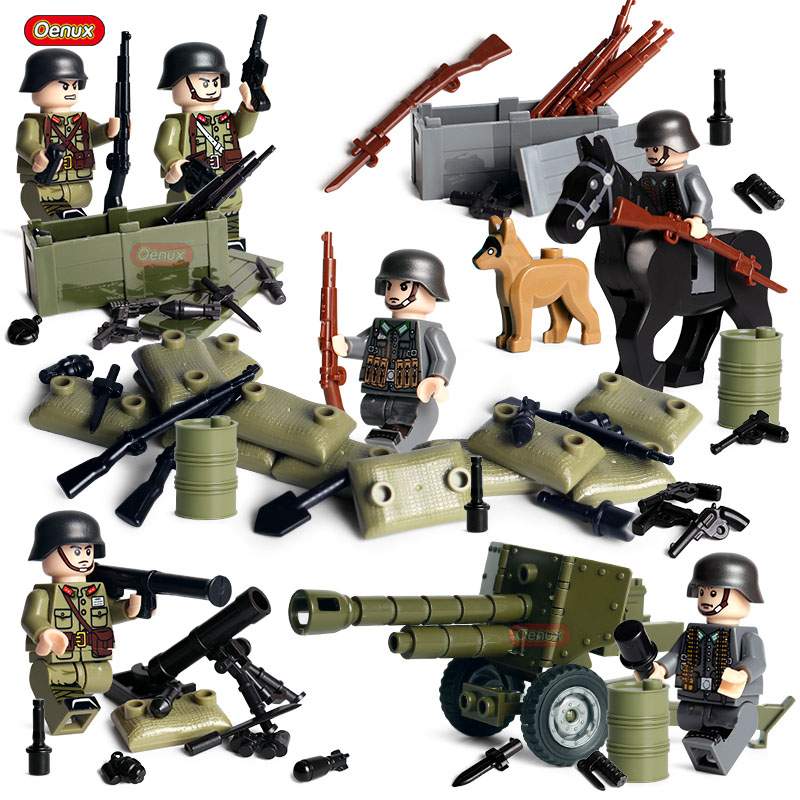 Oenux New WW2 The Battle Of Normandy Mini USA Army Soldiers Figure Legoings Military Building Block Brick MOC Toy For Children