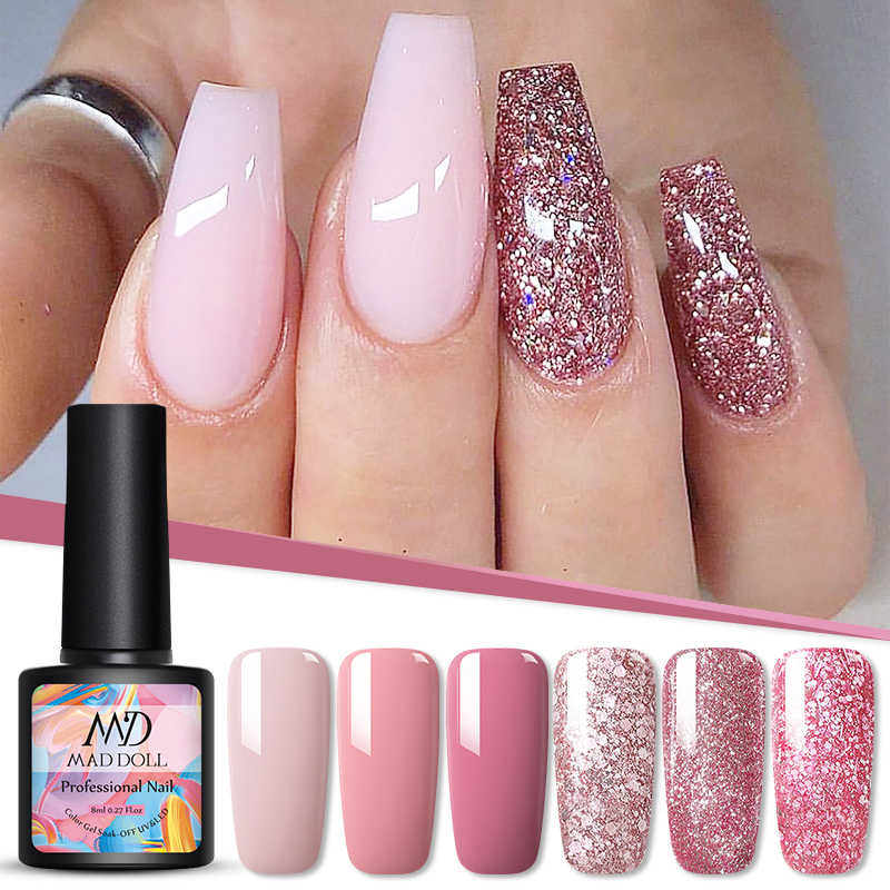Gila Boneka 8 Ml Uv Gel Nail Polish Rose Emas Glitter Payet Rendam Off Uv Gel Varnish Warna Kuku Gel bahasa Polandia DIY Nail Art Lacquer