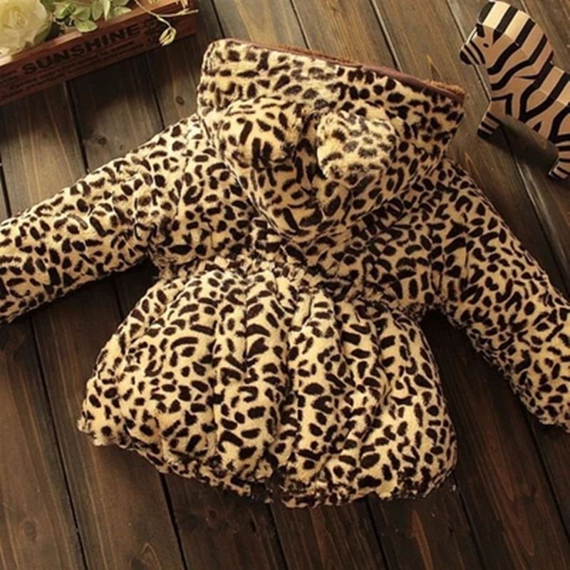 Winter full sleeve Leopard faux fox fur collar Children Girls coat Jacket Baby Girl Outerwear Hooded Infant Clothing Thick Warm 3