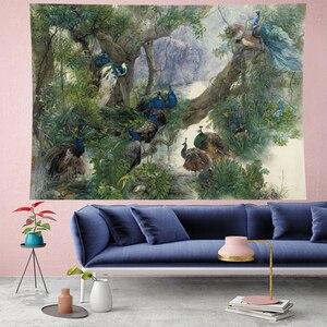 Элегантный гобелен с птицами, настенная подвесная Звездная птица, пейзажные гобелены, коврик для йоги в лесу, настенный Декор для дома, гобе...