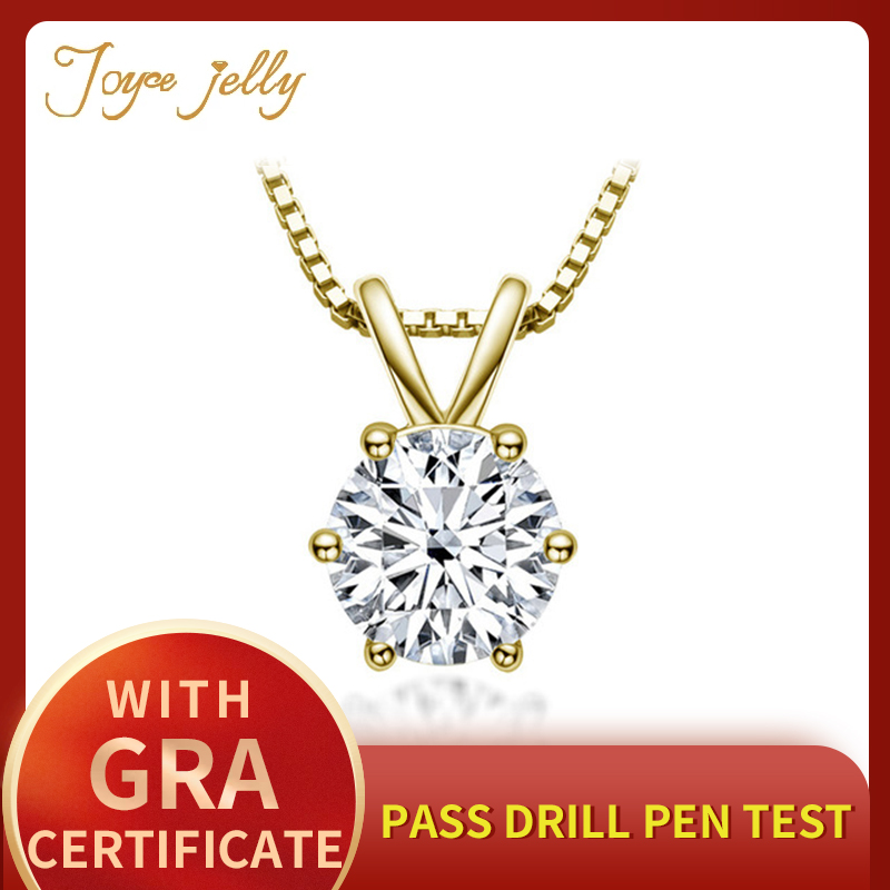 JoyceJelly Classic 1ct Moissanite Necklace For Charm Women 1ct Diamond Pendant Silver 925 Jewelry Engagement Wedding Party Gifts