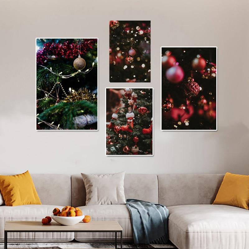 Купить красные шары рождественские украшения настенная картина освещение