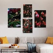 Красные шары рождественские украшения Настенная картина освещение