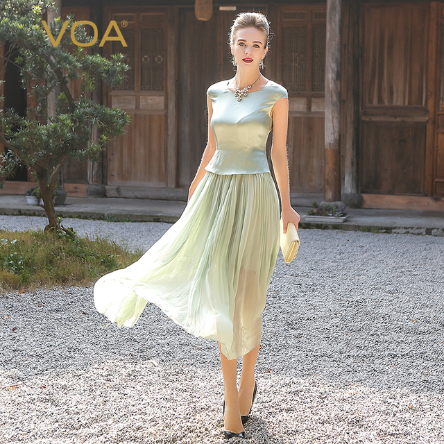 VOA Plus Size elbise Georgette Silk Long Dress Women Sweet Mint Green Tunic Summer Dresses Short Sleeve Casual vestido A5716 1