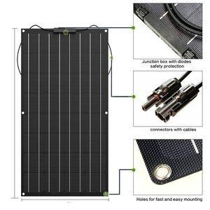 Image 2 - Çin esnek GÜNEŞ PANELI 100W/200W 300W /400W monokristal güneş pili esnek panel güneş için 12V 24 volt güneş enerjisi sistemi kiti