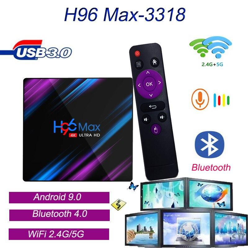 H96 lecteur multimédia H96 Max-3318 Android 9.0 Smart TV décodeur DC 5 V/2A haute vitesse USB 3.0 HDMI 2.0a pour 4k @ 60Hz Smart TV Box