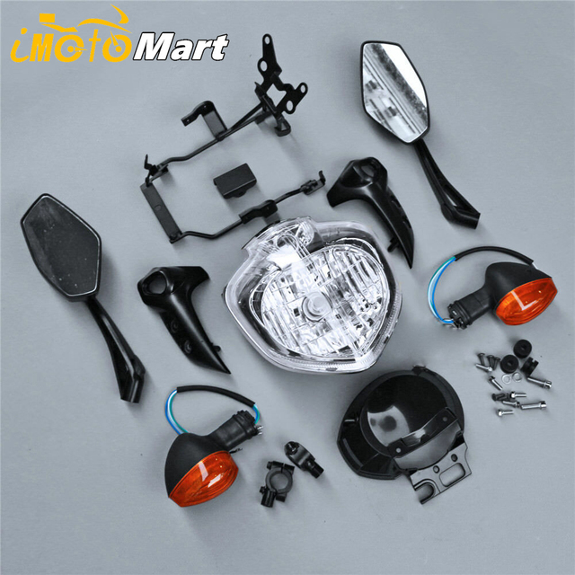 For Yamaha FZ6 FZ6N FZ 6N 2004 2005 2006 Motorcycle Headlight Set Head Light Headlamp Assembly w/ Turn Signals Rear View Mirrors