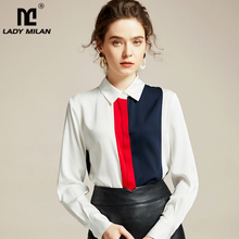 100% Pure Silk Womens Runway Shirts Turn Down Collar Printed Color Block Long Sleeves Elegant Blouse Fashion Tops