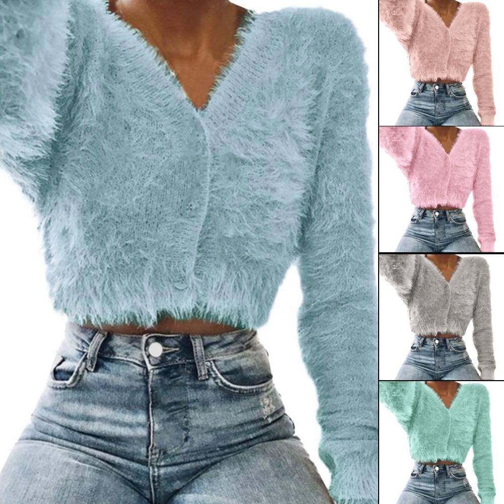 Women Autumn Winter Solid Color V Neck Plush Long Sleeve Button Sweater Top Coat