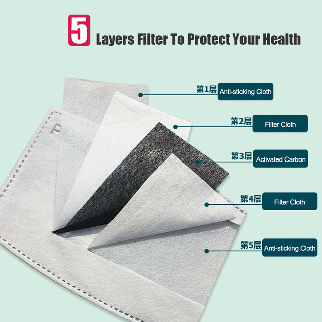 PM2.5 Activated Carbon Filter Paper 10Pcs/Lot 5 Layers For Adult Children Kids Mouth Mask Anti Dust Masks Health Care 1