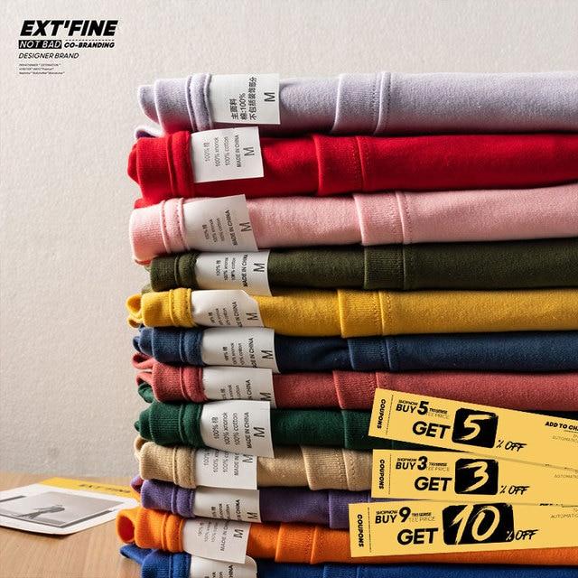 Extfine 100% Combed Cotton Short Sleeve T-shirt Men 2021 Summer Casual Tshirt Women Basic Harajuku Soft T Shirt Tops Tee 2