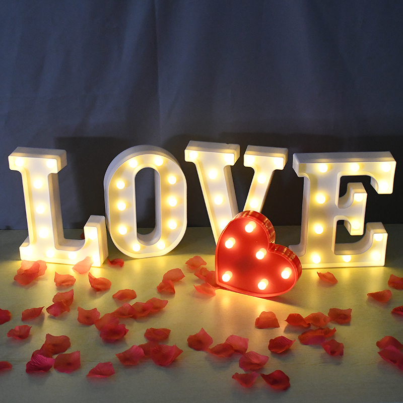 26 English Alphabet Number LED Letter Night Light Battery Plastic Luminous Lamp Birthday Wedding Engagement Party Home Decor